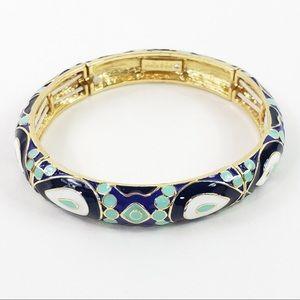 Stella & Dot Blue Enamel Stretch Bracelet